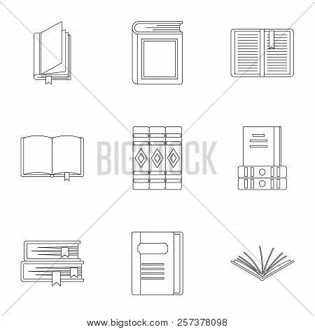 Library Icons Set. Outline Illustration Of 9 Library Icons For Web
