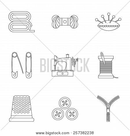 Accessories For Sewing Workshop Icons Set. Outline Illustration Of 9 Accessories For Sewing Workshop