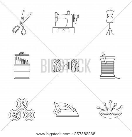 Range Of Tools For Dressmakers Icons Set. Outline Illustration Of 9 Range Of Tools For Dressmakers I