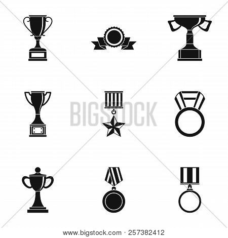 Win Icons Set. Simple Illustration Of 9 Win Icons For Web
