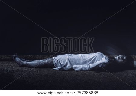 Horror scene of ghost woman death resurrection halloween festival in the dark house nightmare screaming on hell is monster devil girl or female dead characters at night evil dressing wraith spirit. poster