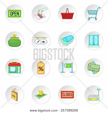 Retail Icons Set. Cartoon Illustration Of 16 Retail Icons For Web