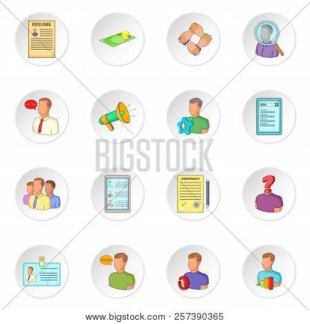 Human Resources Icons Set. Flat Illustration Of 16 Human Resources Icons For Web