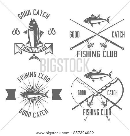 Fishing Club Set Of Vector Vintage Black Labels, Badges, Emblems Isolated On White Background, Fishi