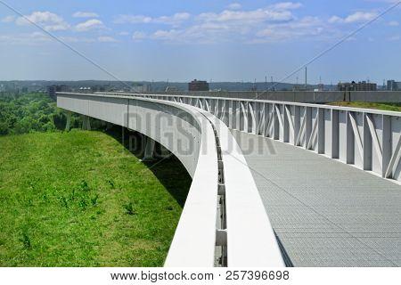 Viewing Platform, Bridge On The Energy Hill Georgswerder In Hamburg, Germany.