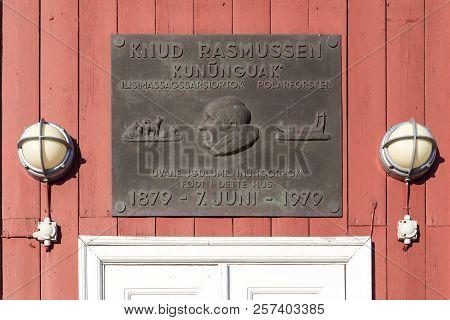 Ilulissat, Greenland - July 01, 2018: A Monumental Sign For Polar Explorer Knud Rasmussen