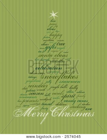 Green Christmas Word Tree