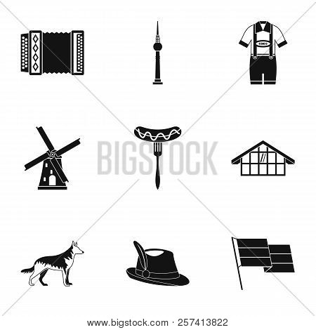 Tourism In Germany Icons Set. Simple Illustration Of 9 Tourism In Germany Icons For Web
