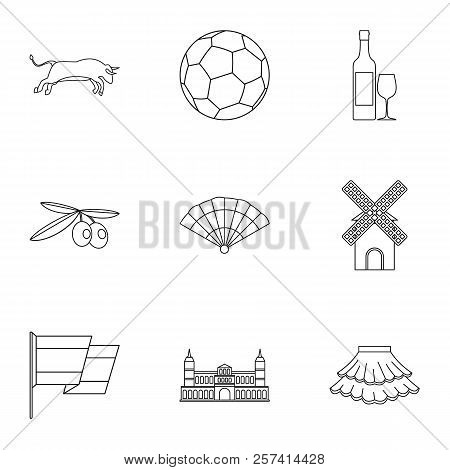 Tourism In Spain Icons Set. Outline Illustration Of 9 Tourism In Spain Icons For Web