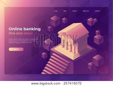 Online Banking Landing Page Concept. Isometric Illustration Of Bank On Geometric Background. 3d Vect