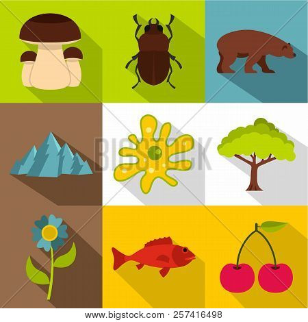 Flora And Fauna Icons Set. Flat Illustration Of 9 Flora And Fauna Icons For Web