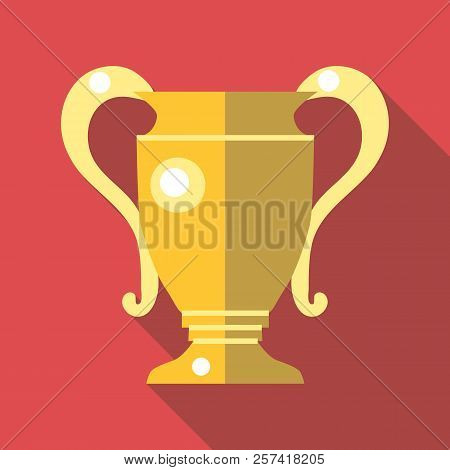 Gold Trophy Cup Icon. Flat Illustration Of Gold Trophy Cup Icon For Web Design