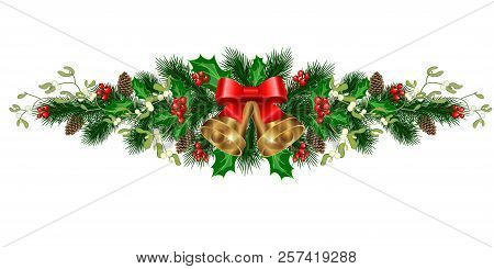 Christmas Decorations With Bells, Fir Tree, Pine Cones, Mistletoe, Holly, Berries And Decorative Ele