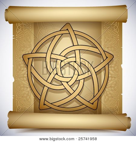 Vintage background with Celtic ornaments and pentacle