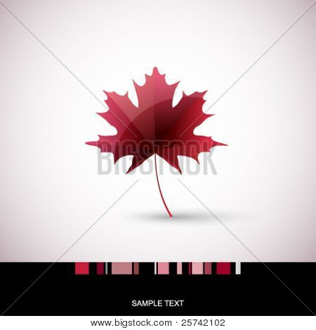 Card with autumn maple leaf
