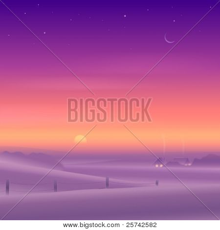 Peaceful winter rural landscape at sunset time