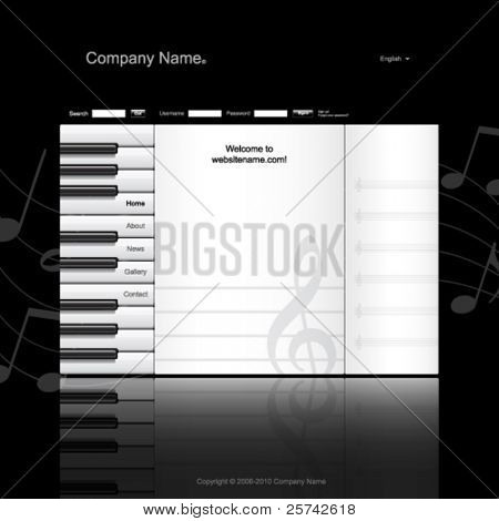 Musical website template. Piano keys and music paper