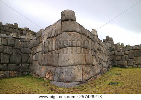 Impressive Huge Wall Of Ancient Inca Citadel Of Sacsayhuaman Archaeological Site, Situated On The No