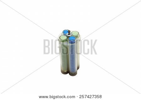 Test Tubes Of Green And Blue Sulphate Crystals, In Plastic Holder. Isolated On White With Clipping P