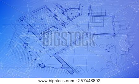 Architectural plan - abstract architectural blueprint of a modern residential building / technology, industry, business concept illustration: real estate, building, construction & architecture