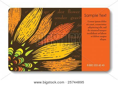 Credit card business card vector photo bigstock credit card business card background design of standard size with a hand drawn flower and colourmoves