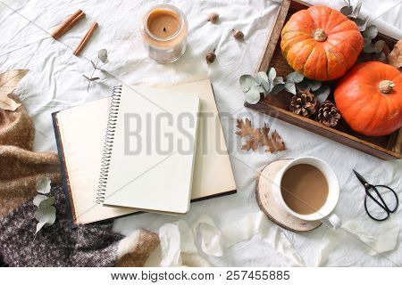 Autumn Breakfast In Bed Composition. Blank Notepad, Book Mockup. Coffee, Candle, Eucalyptus Leaves A