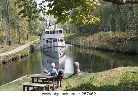 White Ship And Narrow Canal