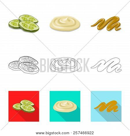 Vector Illustration Of Burger And Sandwich Symbol. Set Of Burger And Slice Stock Symbol For Web.