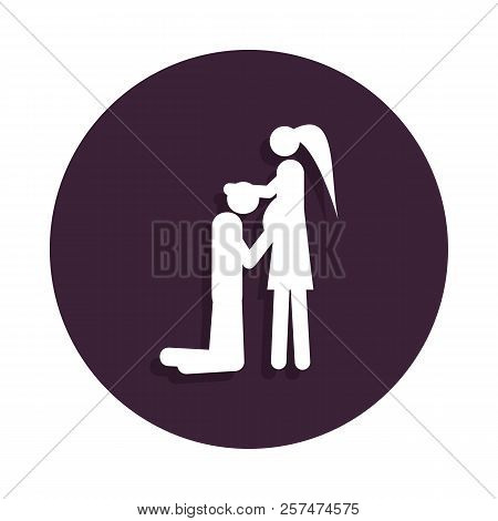 Couple In Anticipation Of Baby Icon In Badge Style. One Of Marriage Collection Icon Can Be Used For