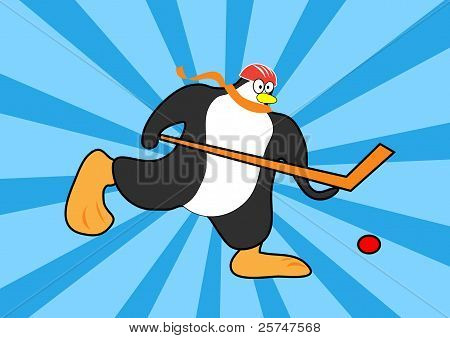 penguin playing hockey