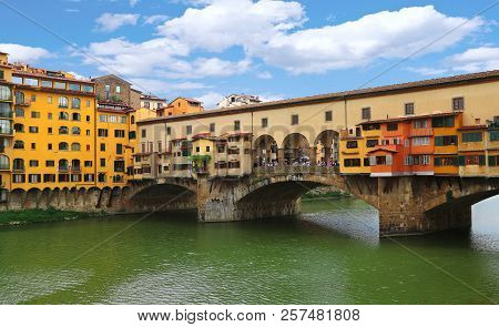 Close Up View Of Ponte Vecchio The Famous Arch Bridge Across Arno River In Florence (firenze), Tusca