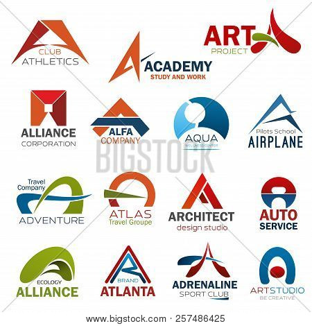 Letter A Icons For Corporate Identity Of Art Design Studio, Athletics Gym Club Or Study Academy And