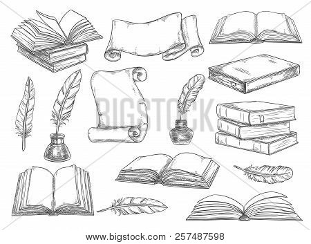 Old Vintage Books, Retro Ink Quill Pens And Manuscripts Sketch Icons. Vector Isolated Set Vintage Bo