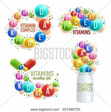 Vitamins And Multivitamin Complex 3d Pills, Capsules And Plastic Bottles For Healthy Life And Dietar