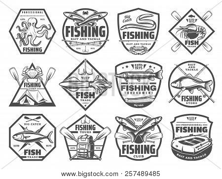 Fishing Retro Sketch Icons For Fisherman Club Or Adventure. Vector Set Of Big Fish Big Catch And Fis