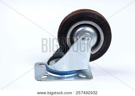 Close-up Wheels, Wheels Black On White Floor,wheels Of Transport.
