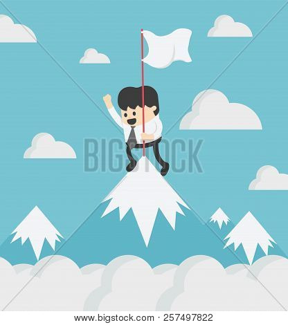 Businessman Standing Atop A Hill Top Of The Airspace, In His Hands, Has The Flag Of Success In The J