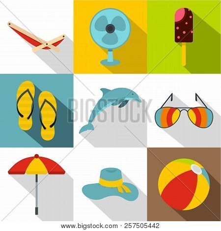 Journey To Sea Icons Set. Flat Illustration Of 9 Journey To Sea Icons For Web