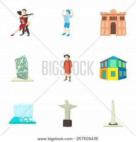 Tourism In Brazil Icons Set. Cartoon Illustration Of 9 Tourism In Brazil Icons For Web