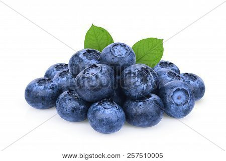 Pile Of Blueberry With Green Leaf Isolated On White Background
