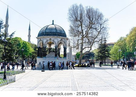 German Fountain In Sultanahmet With Tourists