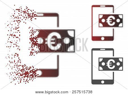 Euro Mobile Cash Icon In Dispersed, Dotted Halftone And Undamaged Entire Versions. Cells Are Grouped