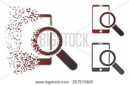 Find Smartphone Icon In Dispersed, Pixelated Halftone And Undamaged Whole Variants. Particles Are Gr