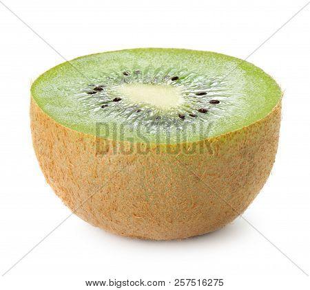 Close-up View Of Ripe Kiwi Fruit Isolated On White Background