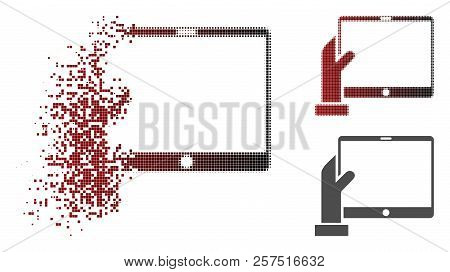 Hand Holds Pda Icon In Dissolved, Dotted Halftone And Undamaged Entire Versions. Elements Are Combin