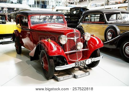 Brussels, Belgium - August 25, 2015 - Autoworld Museum, Old Cars Collection Showing The History Of A