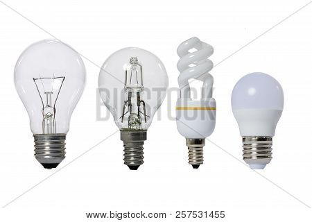 Group Of Lamps On A White Background: Led, Fluorescent, Incandescent, Halogen With Opaque Glass Bulb
