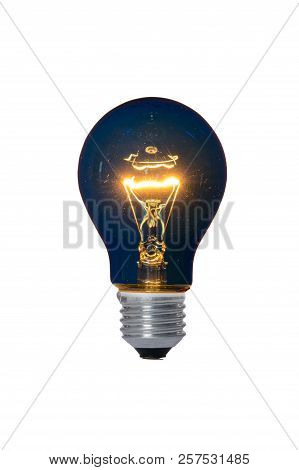 Incandescent Lamp With Glass Bulb And E27 Europe Blue Attachment For Reading. Old Standard Of Consum