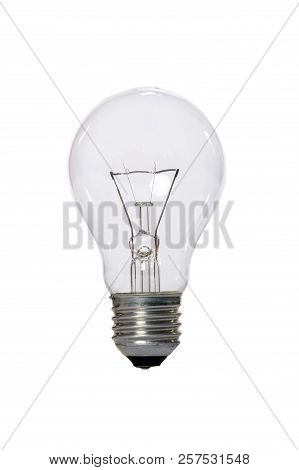 Incandescent Lamp With Transparent Glass Bulb And E27 Europe Connection. Old Standard Of Consumption