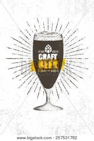 Craft Beer Brewery Artisan Creative Vector Stamp Sign Concept. Rough Handmade Alcohol Banner. Menu Page Design Element poster